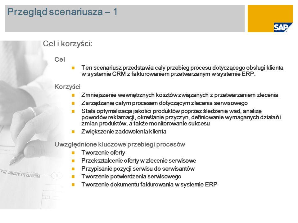 Przegląd scenariusza – 1 Cel Ten scenariusz przedstawia cały przebieg procesu dotyczącego obsługi klienta w systemie CRM z fakturowaniem przetwarzanym