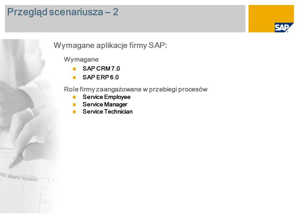 Przegląd scenariusza – 2 Wymagane SAP CRM 7.0 SAP ERP 6.0 Role firmy zaangażowane w przebiegi procesów Service Employee Service Manager Service Techni