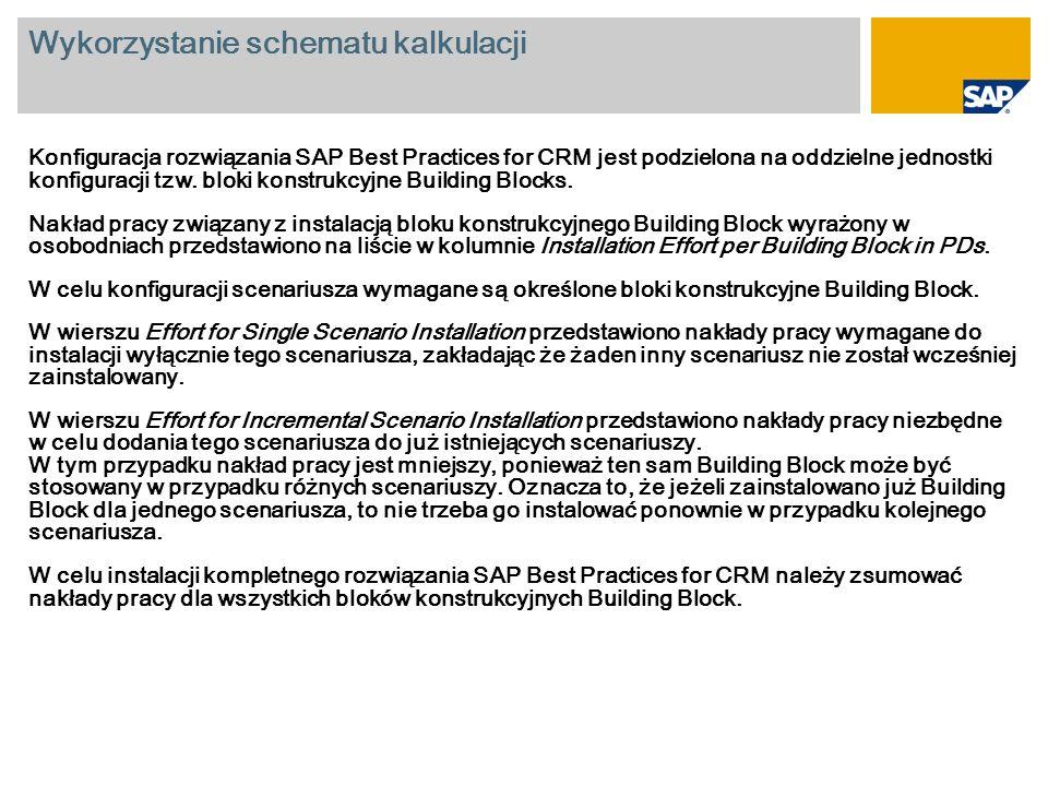 Wykorzystanie schematu kalkulacji Konfiguracja rozwiązania SAP Best Practices for CRM jest podzielona na oddzielne jednostki konfiguracji tzw. bloki k