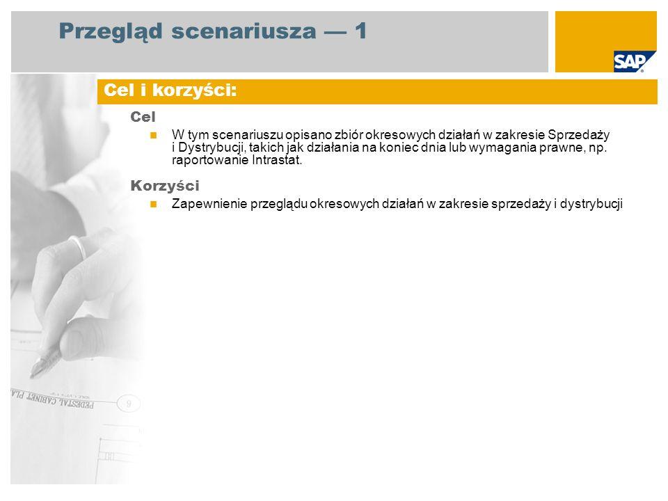 Przegląd scenariusza 1 Cel W tym scenariuszu opisano zbiór okresowych działań w zakresie Sprzedaży i Dystrybucji, takich jak działania na koniec dnia lub wymagania prawne, np.