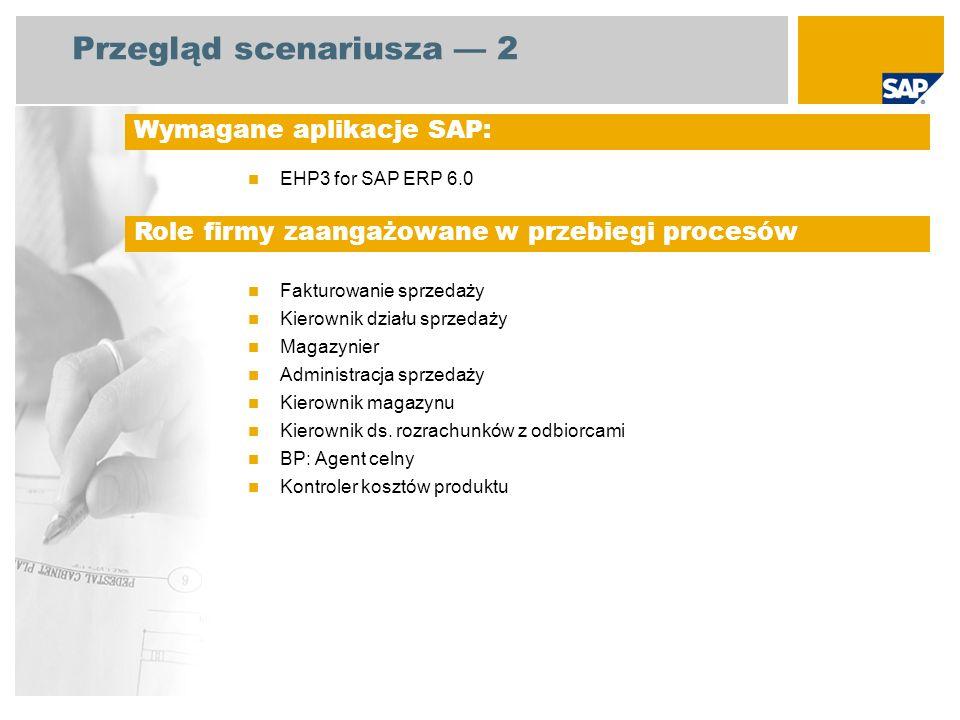 Przegląd scenariusza 2 EHP3 for SAP ERP 6.0 Fakturowanie sprzedaży Kierownik działu sprzedaży Magazynier Administracja sprzedaży Kierownik magazynu Kierownik ds.