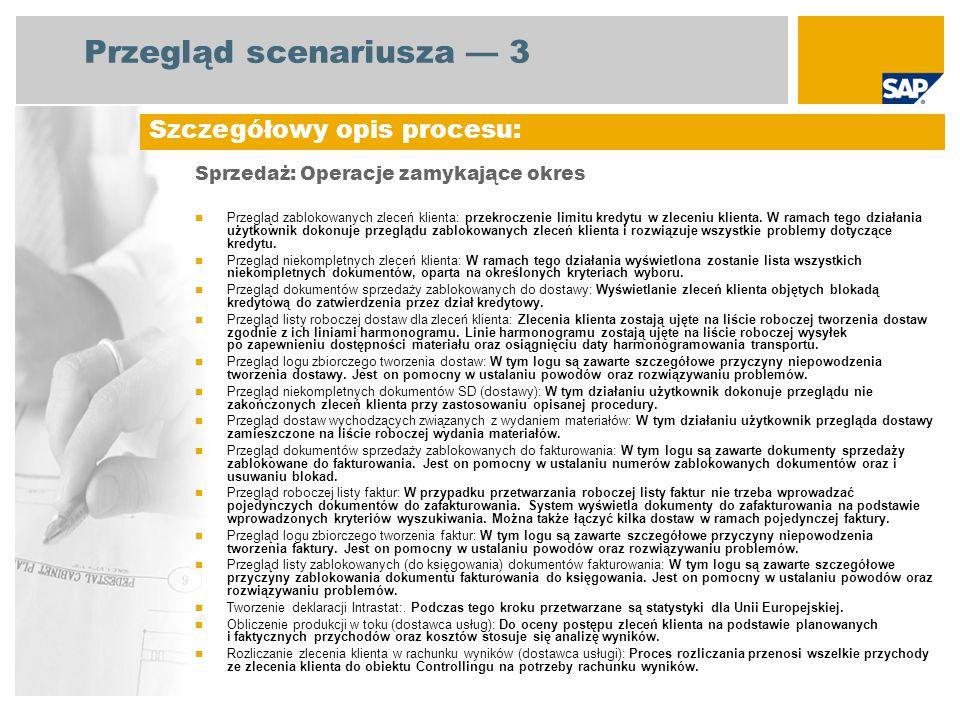 Diagram przebiegu procesu Sprzedaż: Operacje zamykające okres Administracja sprzedażą Magazynier Kierownik ds.