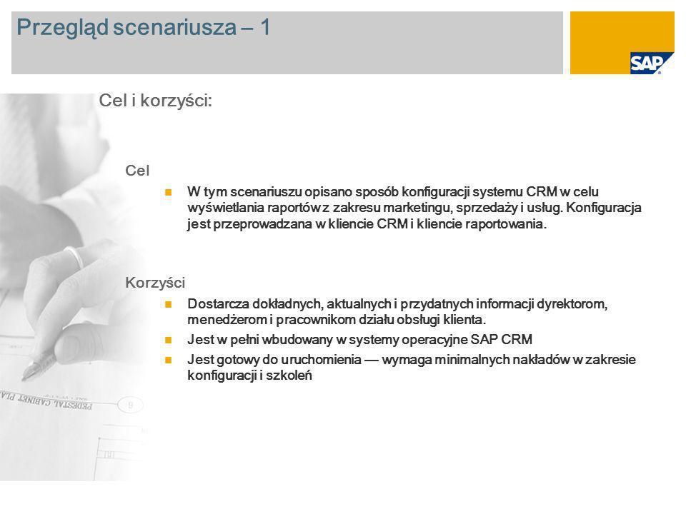 Przegląd scenariusza – 2 Wymagane SAP CRM 7.0 Zaangażowane role firmy Użytkownik biznesowy odpowiedzialny za analizę danych Wymagane aplikacje firmy SAP: Więcej informacji na temat scenariusza opisanego w tym dokumencie można uzyskać dzięki głównym raportom przedstawionym na kolejnych slajdach:
