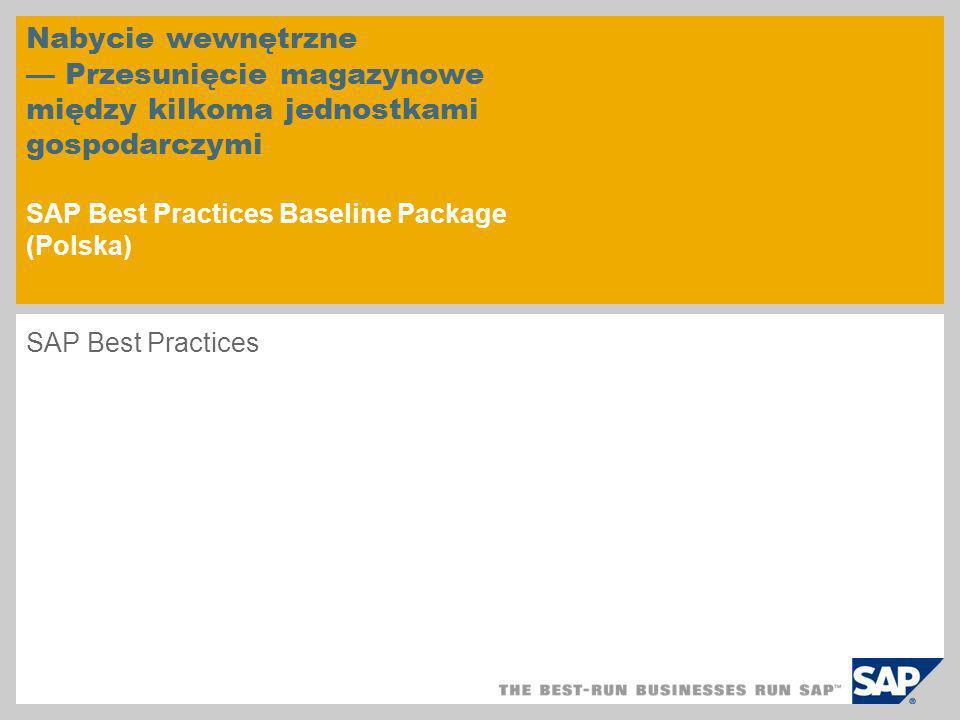 Nabycie wewnętrzne Przesunięcie magazynowe między kilkoma jednostkami gospodarczymi SAP Best Practices Baseline Package (Polska) SAP Best Practices