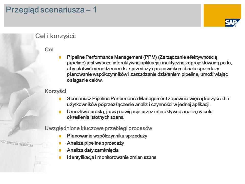 Przegląd scenariusza – 1 Cel Pipeline Performance Management (PPM) (Zarządzanie efektywnością pipeline) jest wysoce interaktywną aplikacją analityczną zaprojektowaną po to, aby ułatwić menedżerom ds.