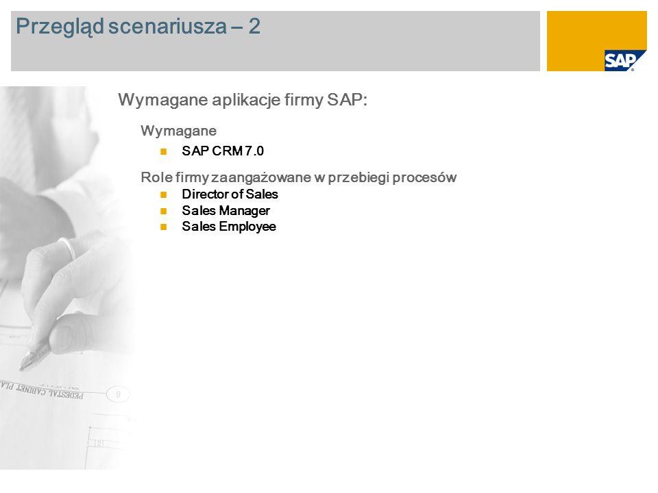 Przegląd scenariusza – 2 Wymagane SAP CRM 7.0 Role firmy zaangażowane w przebiegi procesów Director of Sales Sales Manager Sales Employee Wymagane aplikacje firmy SAP: