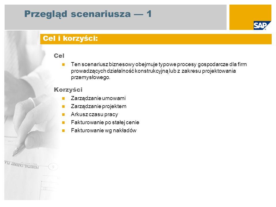 Przegląd scenariusza 1 Cel Ten scenariusz biznesowy obejmuje typowe procesy gospodarcze dla firm prowadzących działalność konstrukcyjną lub z zakresu