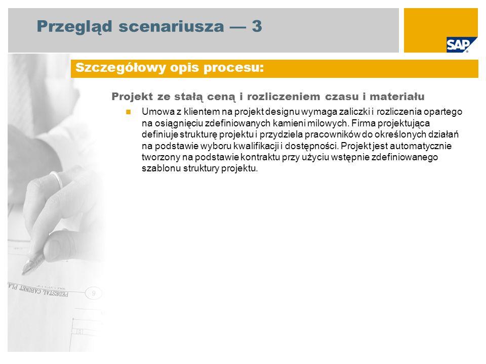 Przegląd scenariusza 3 Projekt ze stałą ceną i rozliczeniem czasu i materiału Umowa z klientem na projekt designu wymaga zaliczki i rozliczenia oparte