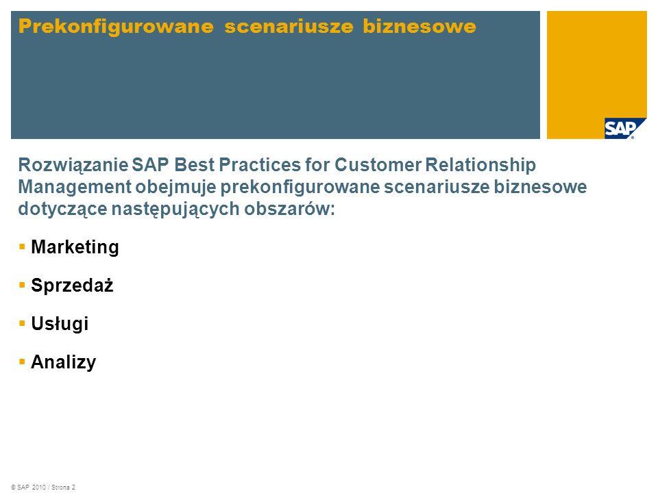 © SAP 2010 / Strona 2 Rozwiązanie SAP Best Practices for Customer Relationship Management obejmuje prekonfigurowane scenariusze biznesowe dotyczące następujących obszarów: Marketing Sprzedaż Usługi Analizy Prekonfigurowane scenariusze biznesowe