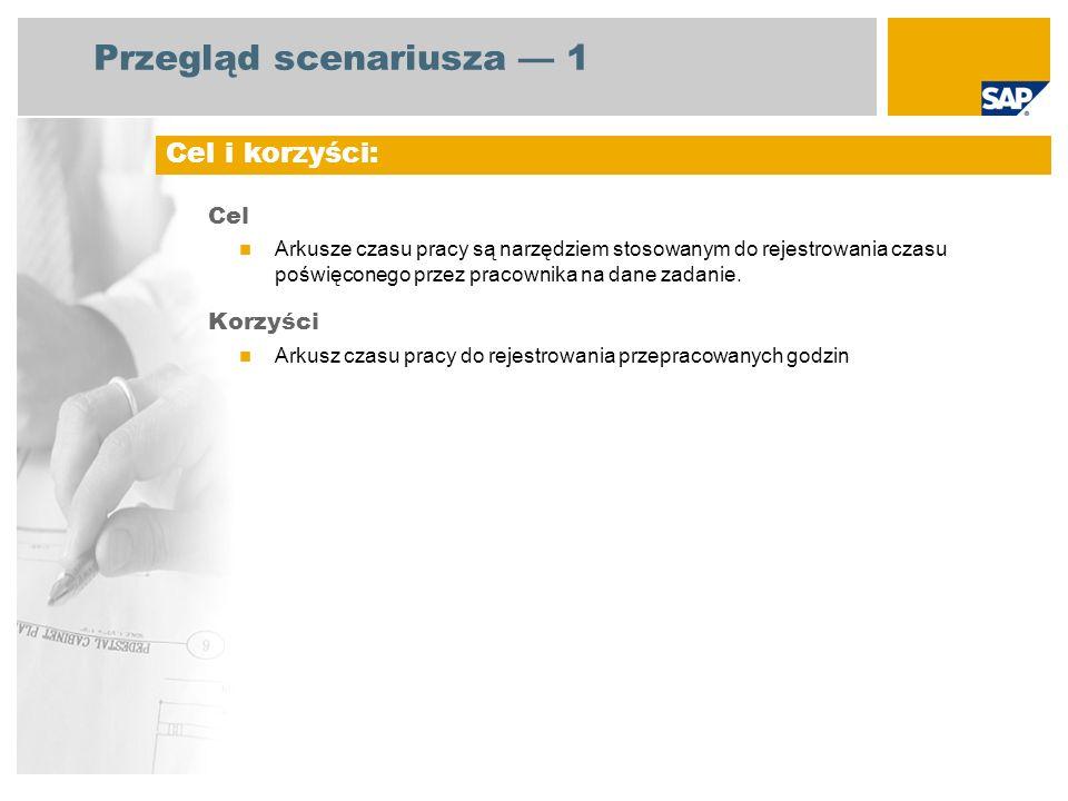 Przegląd scenariusza 1 Cel Arkusze czasu pracy są narzędziem stosowanym do rejestrowania czasu poświęconego przez pracownika na dane zadanie. Korzyści
