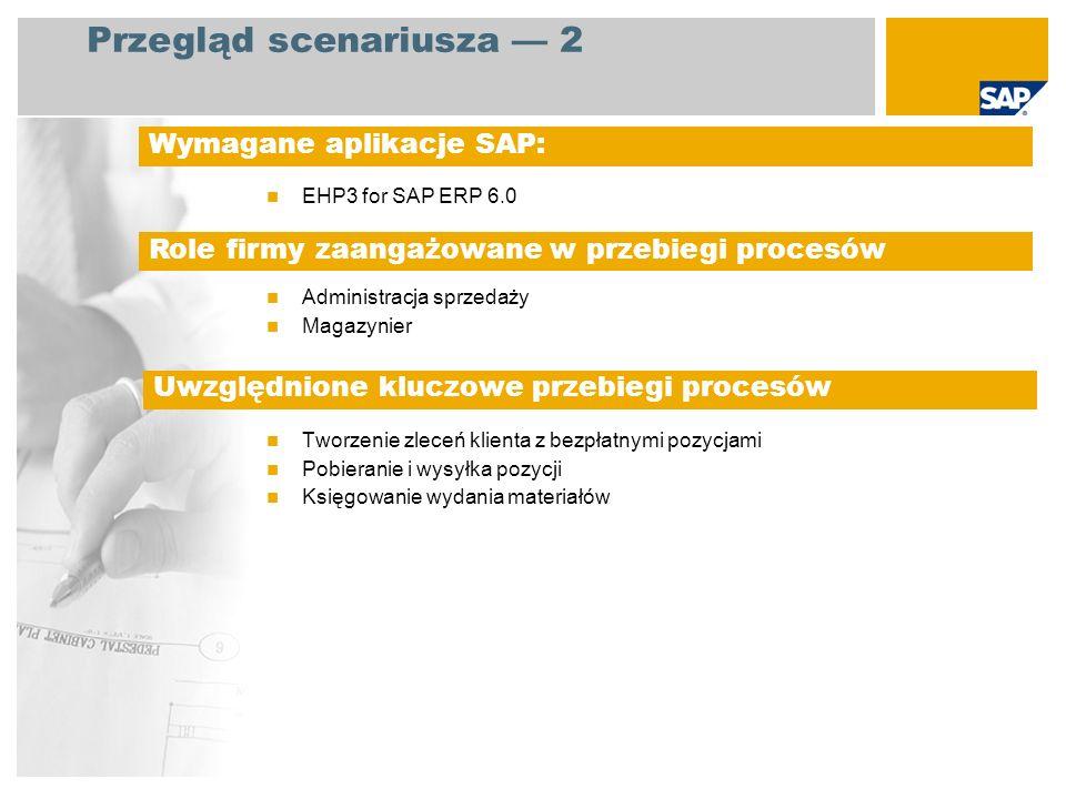 EHP3 for SAP ERP 6.0 Administracja sprzedaży Magazynier Tworzenie zleceń klienta z bezpłatnymi pozycjami Pobieranie i wysyłka pozycji Księgowanie wyda