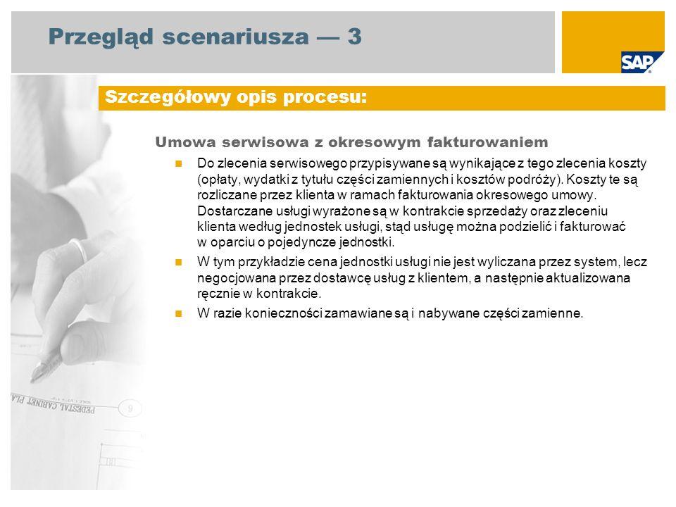 Przegląd scenariusza 3 Umowa serwisowa z okresowym fakturowaniem Do zlecenia serwisowego przypisywane są wynikające z tego zlecenia koszty (opłaty, wydatki z tytułu części zamiennych i kosztów podróży).