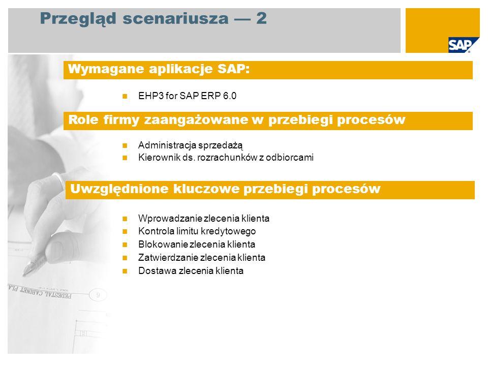 EHP3 for SAP ERP 6.0 Administracja sprzedażą Kierownik ds. rozrachunków z odbiorcami Wprowadzanie zlecenia klienta Kontrola limitu kredytowego Blokowa