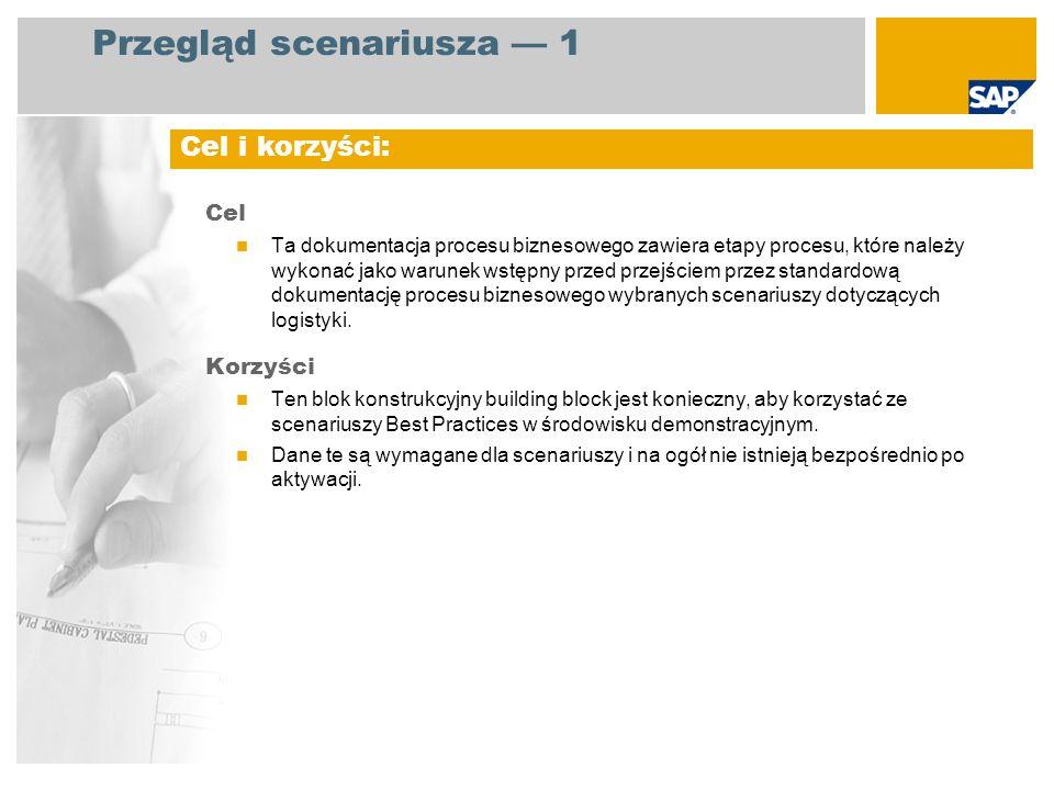 Przegląd scenariusza 1 Cel Ta dokumentacja procesu biznesowego zawiera etapy procesu, które należy wykonać jako warunek wstępny przed przejściem przez