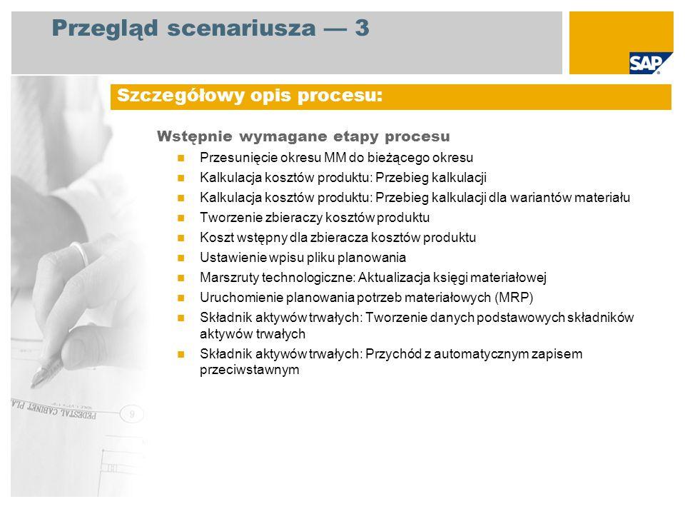 Przegląd scenariusza 3 Wstępnie wymagane etapy procesu Przesunięcie okresu MM do bieżącego okresu Kalkulacja kosztów produktu: Przebieg kalkulacji Kal