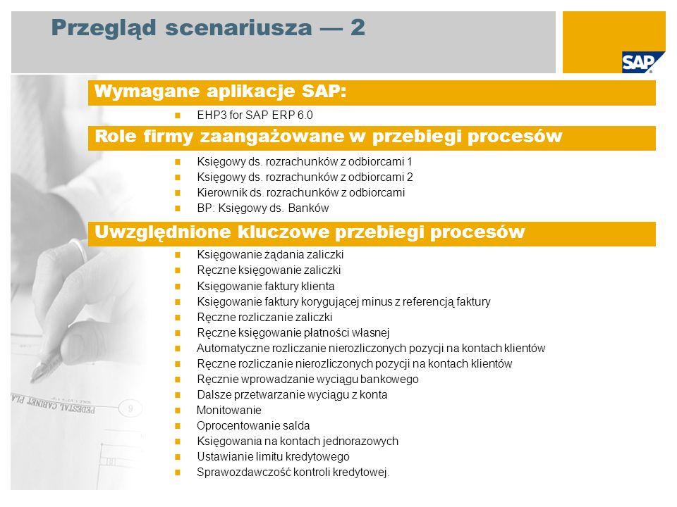 Przegląd scenariusza 2 EHP3 for SAP ERP 6.0 Księgowy ds. rozrachunków z odbiorcami 1 Księgowy ds. rozrachunków z odbiorcami 2 Kierownik ds. rozrachunk