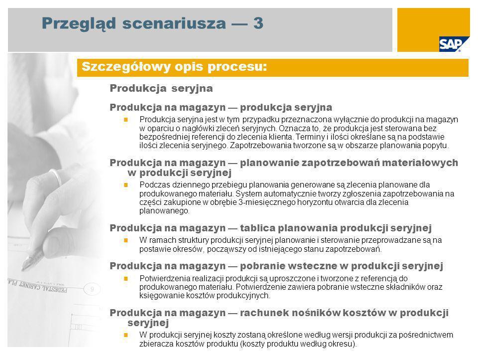 Przegląd scenariusza 3 Produkcja seryjna Produkcja na magazyn produkcja seryjna Produkcja seryjna jest w tym przypadku przeznaczona wyłącznie do produkcji na magazyn w oparciu o nagłówki zleceń seryjnych.