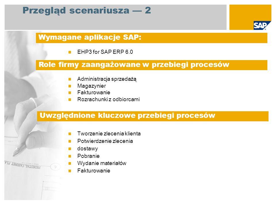 EHP3 for SAP ERP 6.0 Administracja sprzedażą Magazynier Fakturowanie Rozrachunki z odbiorcami Tworzenie zlecenia klienta Potwierdzenie zlecenia dostaw