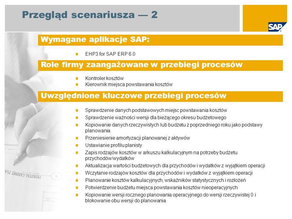 Przegląd scenariusza 2 EHP3 for SAP ERP 6.0 Kontroler kosztów Kierownik miejsca powstawania kosztów Sprawdzenie danych podstawowych miejsc powstawania