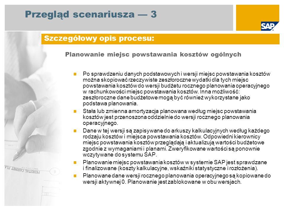 Przegląd scenariusza 3 Planowanie miejsc powstawania kosztów ogólnych Po sprawdzeniu danych podstawowych i wersji miejsc powstawania kosztów można sko