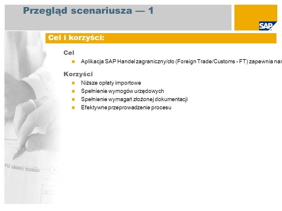 EHP3 for SAP ERP 6.0 Administracja sprzedaży Magazynier Fakturowanie sprzedaży Rozrachunki z odbiorcami Wprowadzanie zlecenia klienta Tworzenie dostawy Tworzenie faktury pro forma Drukowanie dokumentów Księgowanie wydania materiałów Rozliczanie Tworzenie deklaracji Intrastat Wymagane aplikacje SAP: Role firmy zaangażowane w przebiegi procesów Uwzględnione kluczowe przebiegi procesów Przegląd scenariusza 2
