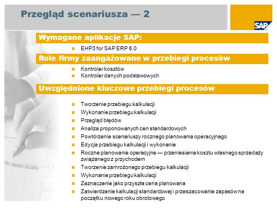 Przegląd scenariusza 2 EHP3 for SAP ERP 6.0 Kontroler kosztów Kontroler danych podstawowych Tworzenie przebiegu kalkulacji Wykonanie przebiegu kalkula