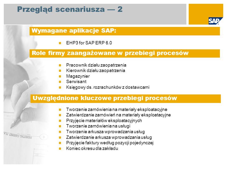 Przegląd scenariusza 2 EHP3 for SAP ERP 6.0 Pracownik działu zaopatrzenia Kierownik działu zaopatrzenia Magazynier Serwisant Księgowy ds. rozrachunków