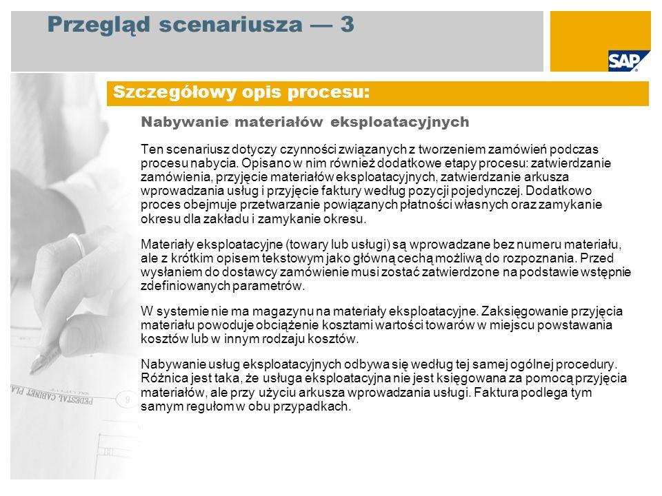 Przegląd scenariusza 3 Nabywanie materiałów eksploatacyjnych Ten scenariusz dotyczy czynności związanych z tworzeniem zamówień podczas procesu nabycia