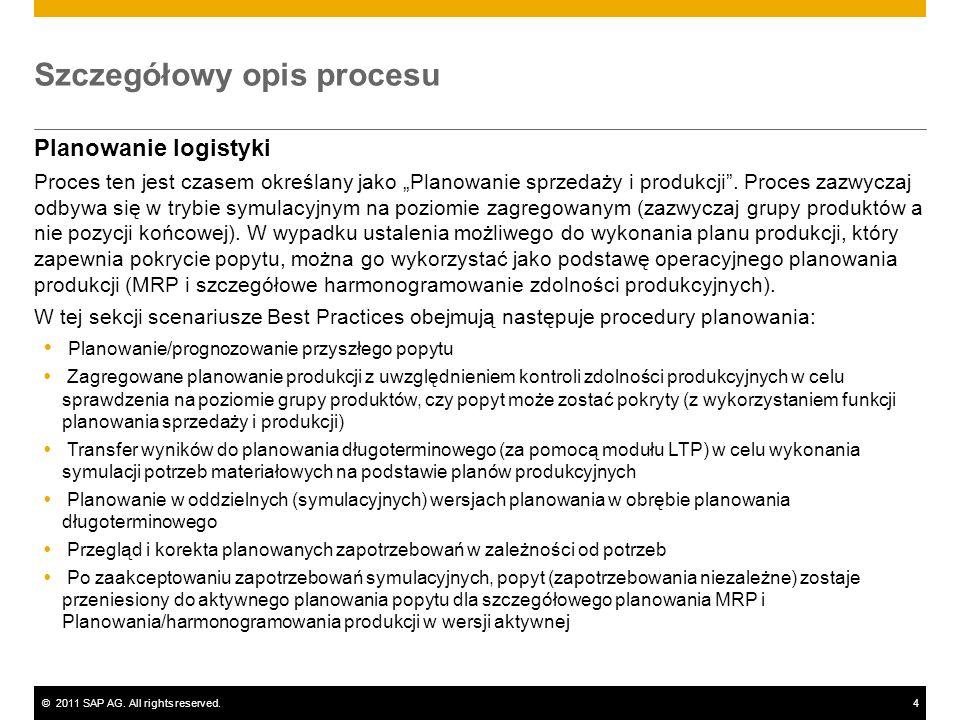 ©2011 SAP AG. All rights reserved.4 Szczegółowy opis procesu Planowanie logistyki Proces ten jest czasem określany jako Planowanie sprzedaży i produkc