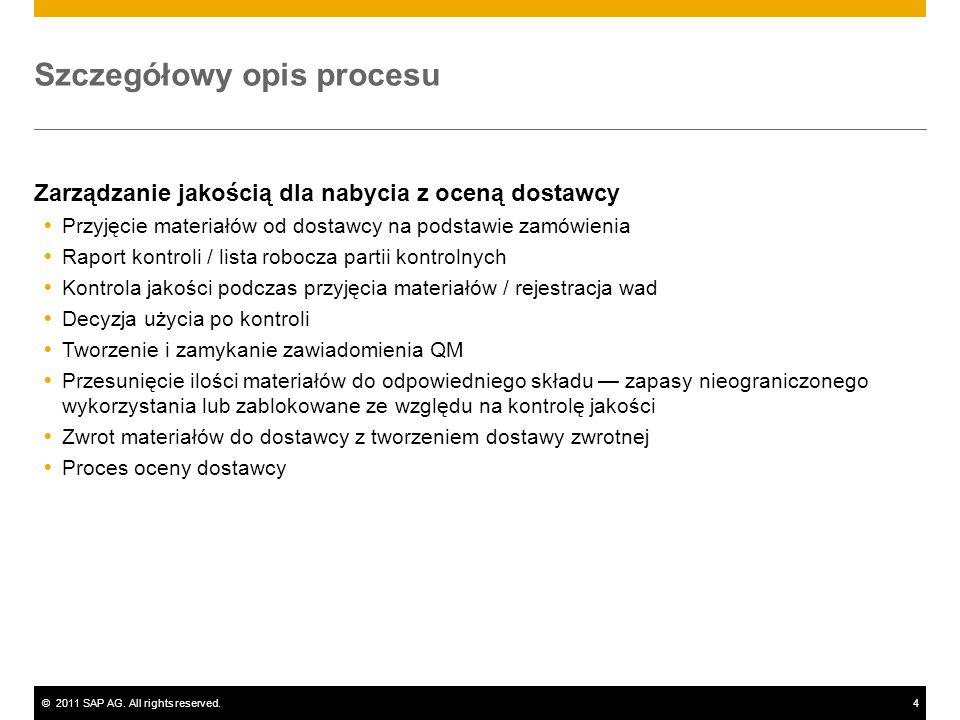 ©2011 SAP AG. All rights reserved.4 Szczegółowy opis procesu Zarządzanie jakością dla nabycia z oceną dostawcy Przyjęcie materiałów od dostawcy na pod