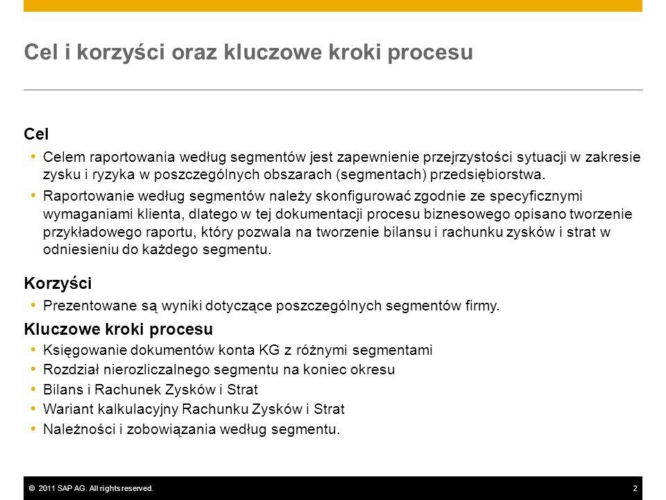 ©2011 SAP AG. All rights reserved.2 Cel i korzyści oraz kluczowe kroki procesu Cel Celem raportowania według segmentów jest zapewnienie przejrzystości
