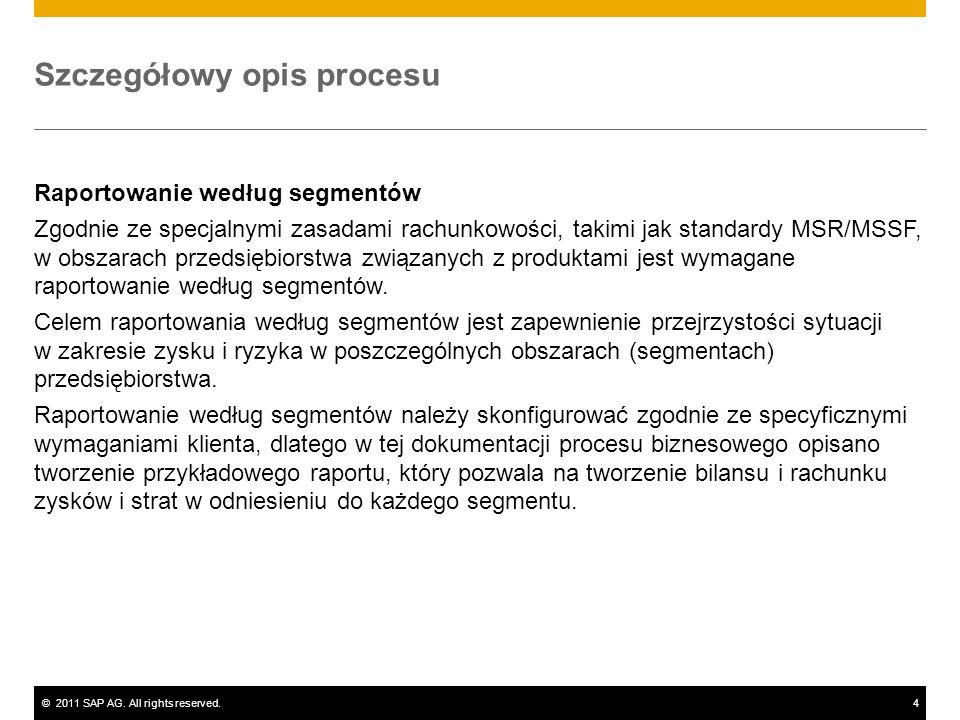 ©2011 SAP AG. All rights reserved.4 Szczegółowy opis procesu Raportowanie według segmentów Zgodnie ze specjalnymi zasadami rachunkowości, takimi jak s