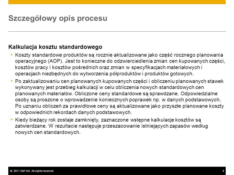 ©2011 SAP AG. All rights reserved.4 Szczegółowy opis procesu Kalkulacja kosztu standardowego Koszty standardowe produktów są rocznie aktualizowane jak