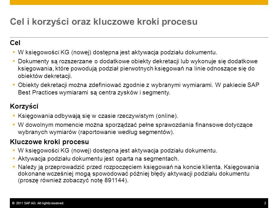 ©2011 SAP AG. All rights reserved.2 Cel i korzyści oraz kluczowe kroki procesu Cel W księgowości KG (nowej) dostępna jest aktywacja podziału dokumentu