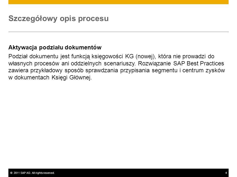 ©2011 SAP AG. All rights reserved.4 Szczegółowy opis procesu Aktywacja podziału dokumentów Podział dokumentu jest funkcją księgowości KG (nowej), któr