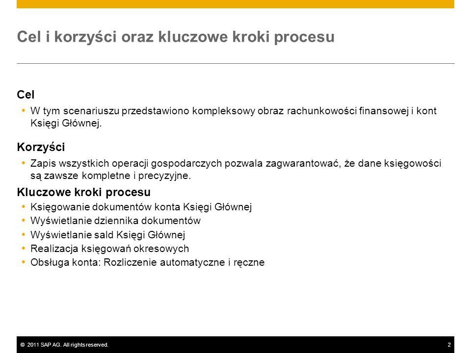 ©2011 SAP AG. All rights reserved.2 Cel i korzyści oraz kluczowe kroki procesu Cel W tym scenariuszu przedstawiono kompleksowy obraz rachunkowości fin