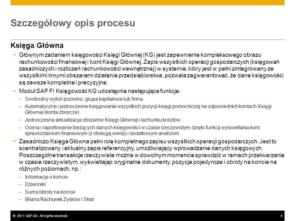 ©2011 SAP AG. All rights reserved.4 Szczegółowy opis procesu Księga Główna Głównym zadaniem księgowości Księgi Głównej (KG) jest zapewnienie komplekso