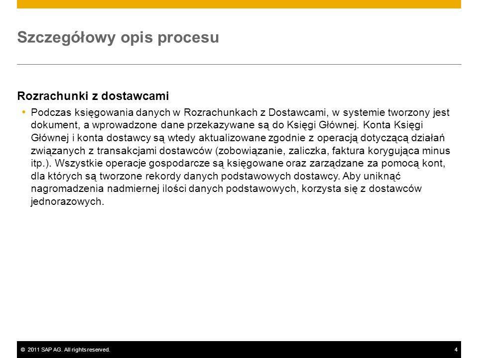 ©2011 SAP AG. All rights reserved.4 Szczegółowy opis procesu Rozrachunki z dostawcami Podczas księgowania danych w Rozrachunkach z Dostawcami, w syste
