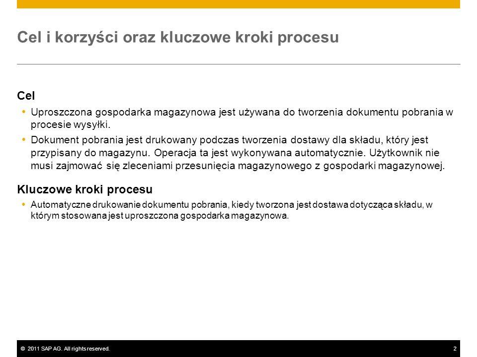 ©2011 SAP AG. All rights reserved.2 Cel i korzyści oraz kluczowe kroki procesu Cel Uproszczona gospodarka magazynowa jest używana do tworzenia dokumen