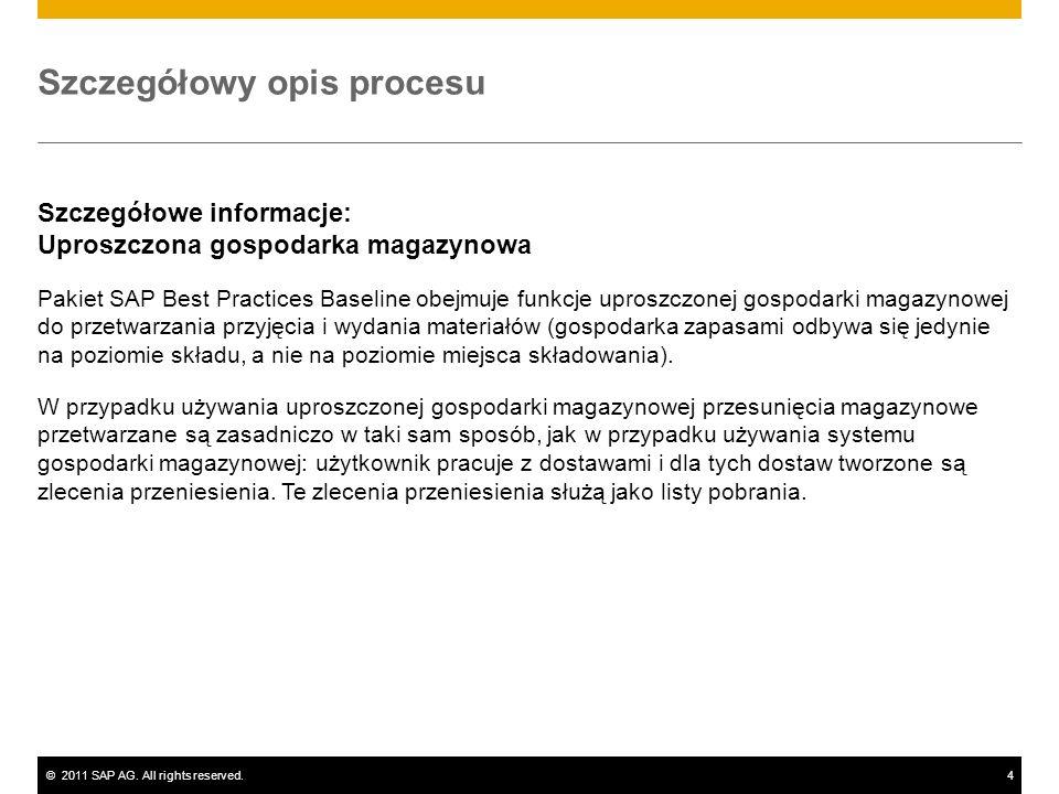 ©2011 SAP AG. All rights reserved.4 Szczegółowy opis procesu Szczegółowe informacje: Uproszczona gospodarka magazynowa Pakiet SAP Best Practices Basel