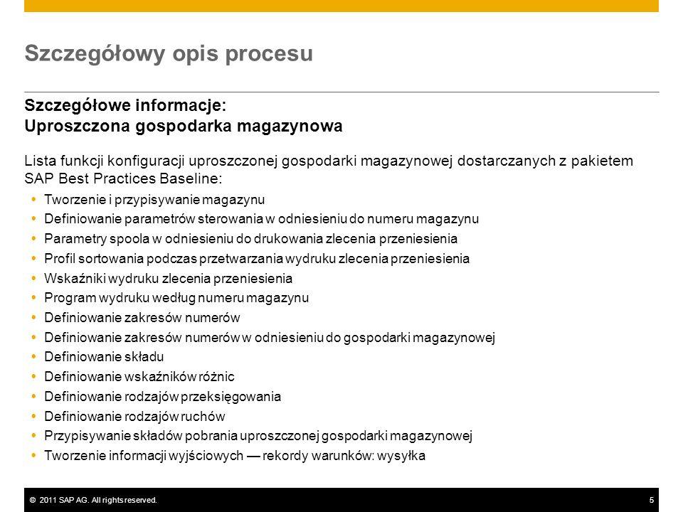 ©2011 SAP AG. All rights reserved.5 Szczegółowy opis procesu Szczegółowe informacje: Uproszczona gospodarka magazynowa Lista funkcji konfiguracji upro