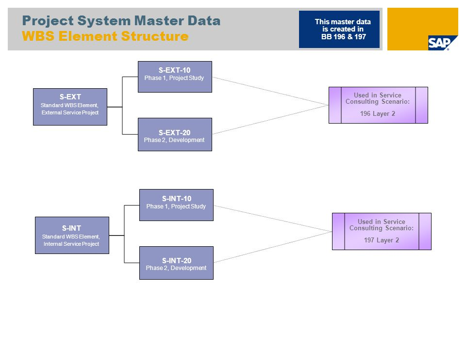 Project System Master Data WBS Element Structure S-EXT Standard WBS Element, External Service Project This master data is created in BB 196 & 197 S-EX