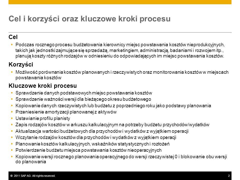 ©2011 SAP AG. All rights reserved.2 Cel i korzyści oraz kluczowe kroki procesu Cel Podczas rocznego procesu budżetowania kierownicy miejsc powstawania