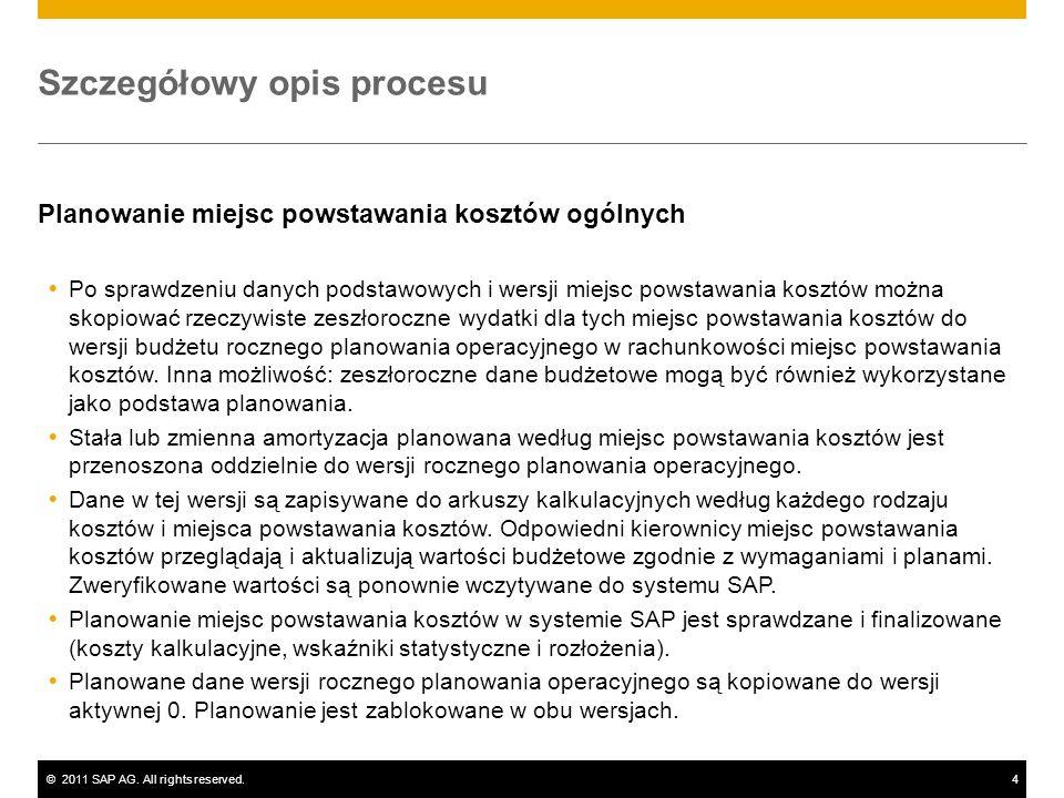 ©2011 SAP AG. All rights reserved.4 Szczegółowy opis procesu Planowanie miejsc powstawania kosztów ogólnych Po sprawdzeniu danych podstawowych i wersj