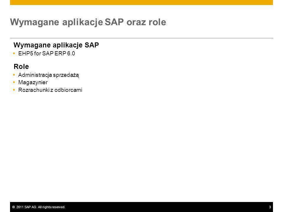 ©2011 SAP AG. All rights reserved.3 Wymagane aplikacje SAP oraz role Wymagane aplikacje SAP EHP5 for SAP ERP 6.0 Role Administracja sprzedażą Magazyni