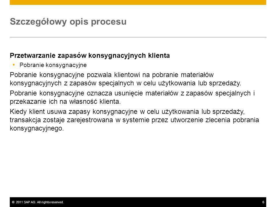 ©2011 SAP AG. All rights reserved.6 Szczegółowy opis procesu Przetwarzanie zapasów konsygnacyjnych klienta Pobranie konsygnacyjne Pobranie konsygnacyj