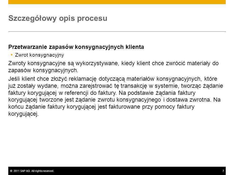 ©2011 SAP AG. All rights reserved.7 Szczegółowy opis procesu Przetwarzanie zapasów konsygnacyjnych klienta Zwrot konsygnacyjny Zwroty konsygnacyjne są