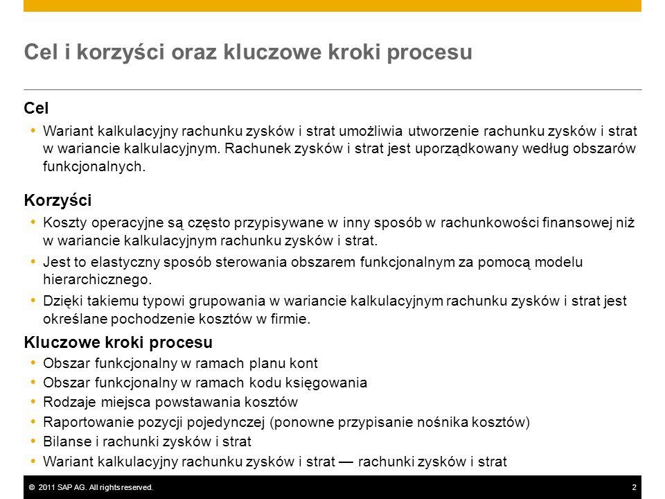 ©2011 SAP AG. All rights reserved.2 Cel i korzyści oraz kluczowe kroki procesu Cel Wariant kalkulacyjny rachunku zysków i strat umożliwia utworzenie r