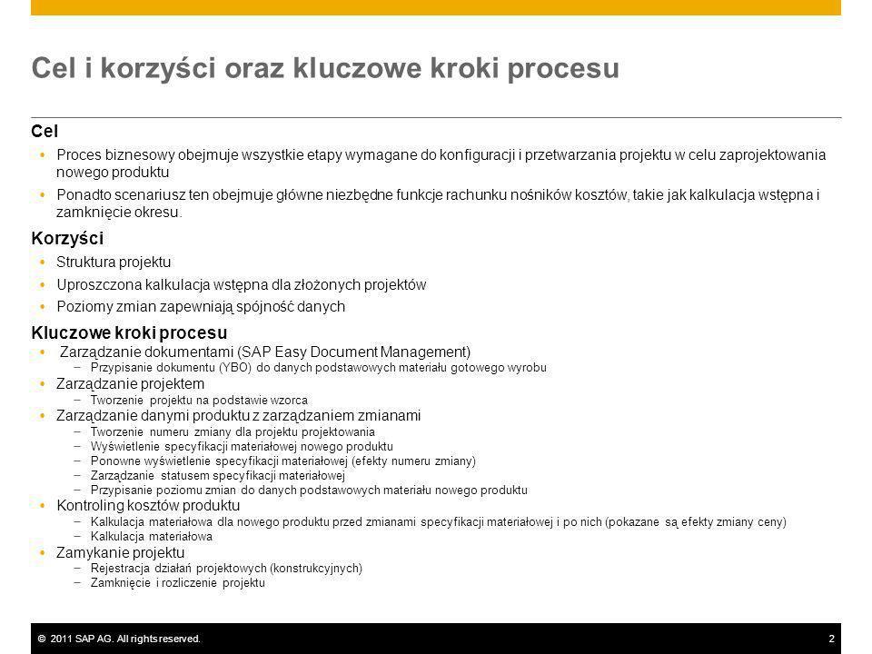 ©2011 SAP AG. All rights reserved.2 Cel i korzyści oraz kluczowe kroki procesu Cel Proces biznesowy obejmuje wszystkie etapy wymagane do konfiguracji