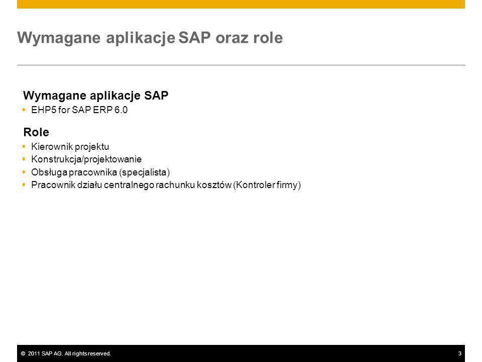 ©2011 SAP AG. All rights reserved.3 Wymagane aplikacje SAP oraz role Wymagane aplikacje SAP EHP5 for SAP ERP 6.0 Role Kierownik projektu Konstrukcja/p